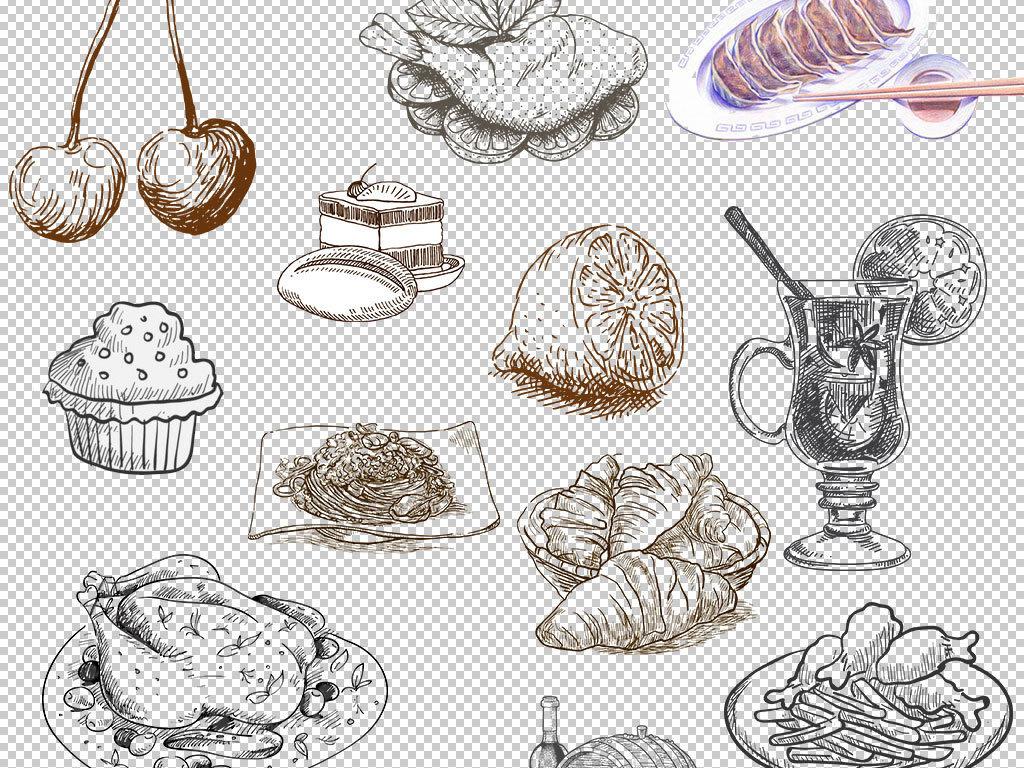 手绘美味西餐面包食物背景png素材