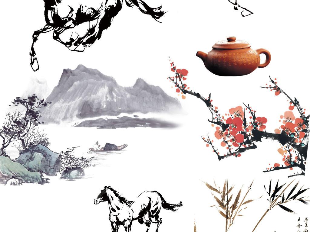 中国风水墨山水素材免抠png设计元素集合