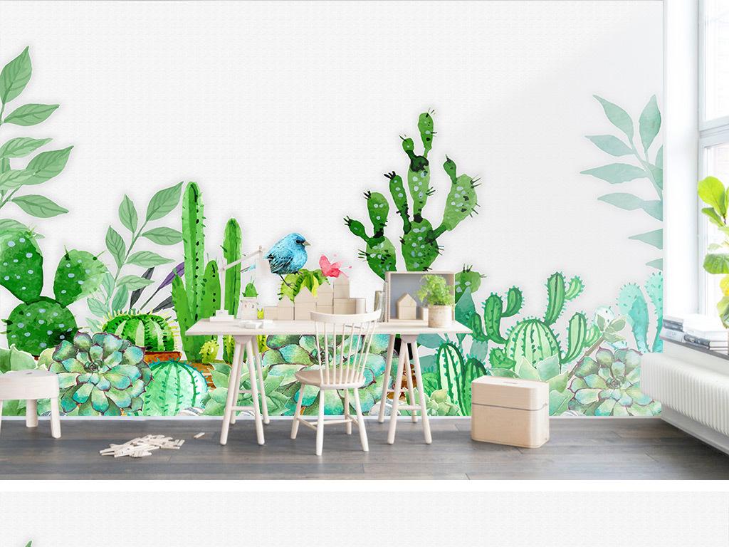 北欧田园小清新手绘仙人掌客厅卧室背景墙