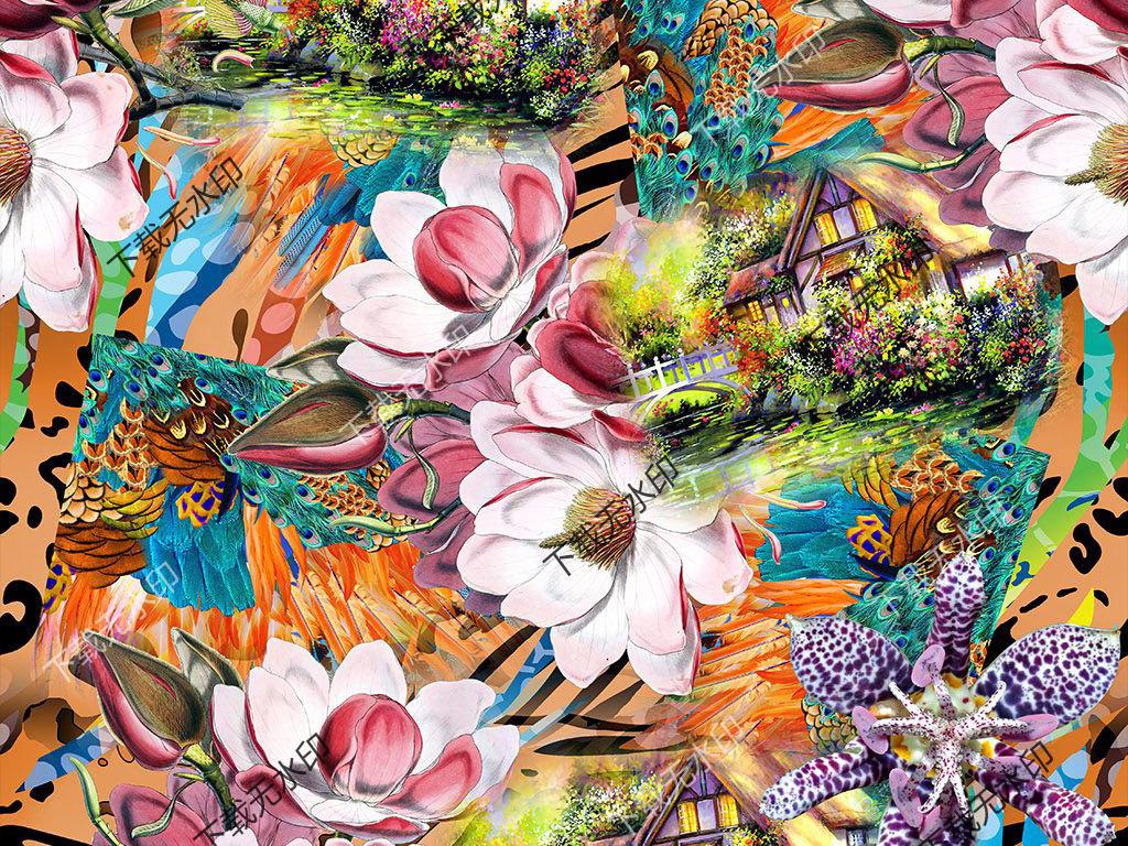 手绘花卉孔雀羽毛卡通小屋拼图数码印花设计