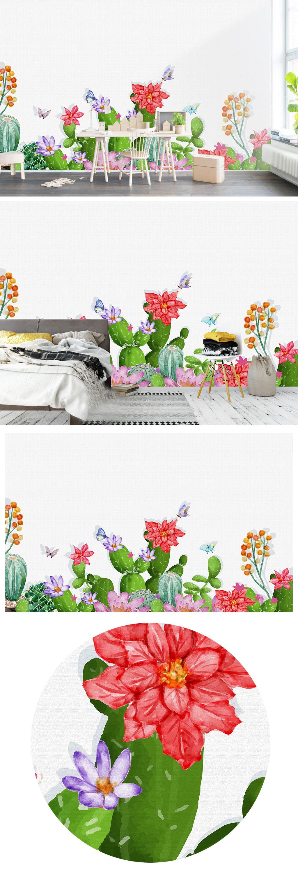简约手绘美式仙人掌卧室客厅背景墙
