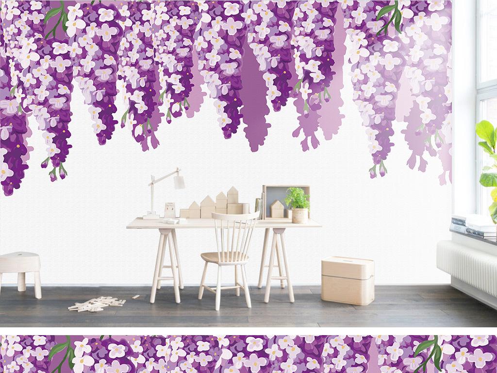 手绘水彩薰衣草紫藤花背景墙
