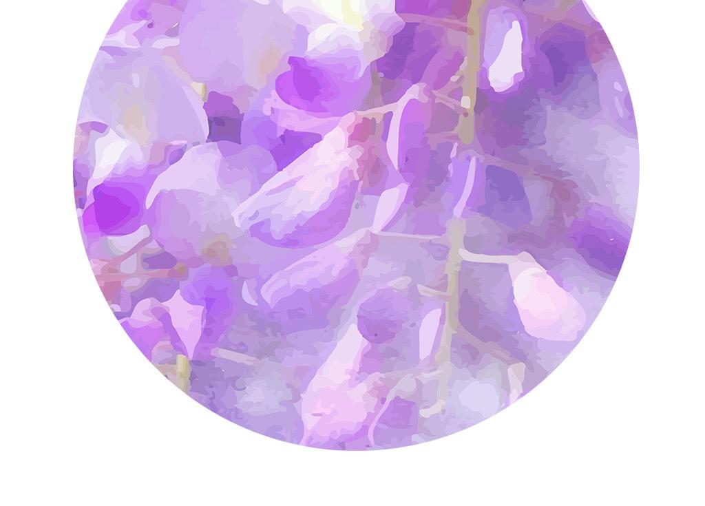 手绘水彩唯美紫藤花卧室客厅背景墙