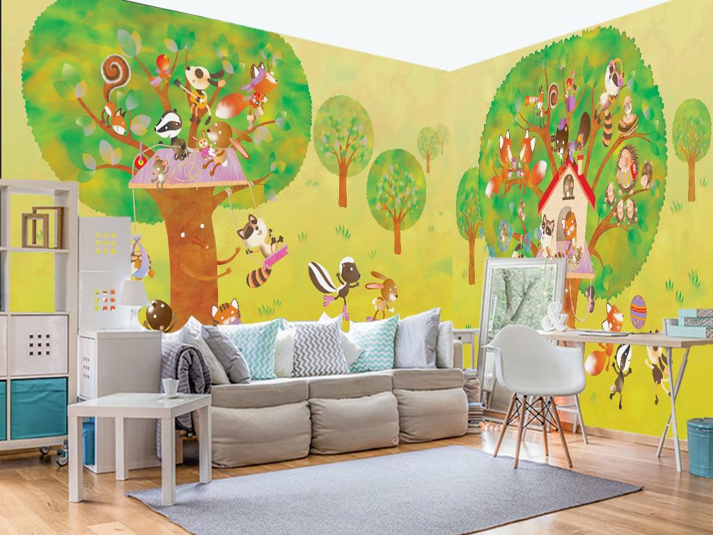 手绘卡通儿童房松鼠乐园爆款背景墙(2张)