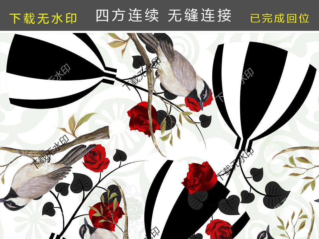 手绘花瓶玫瑰喜鹊拼图数码印花面料图案花型
