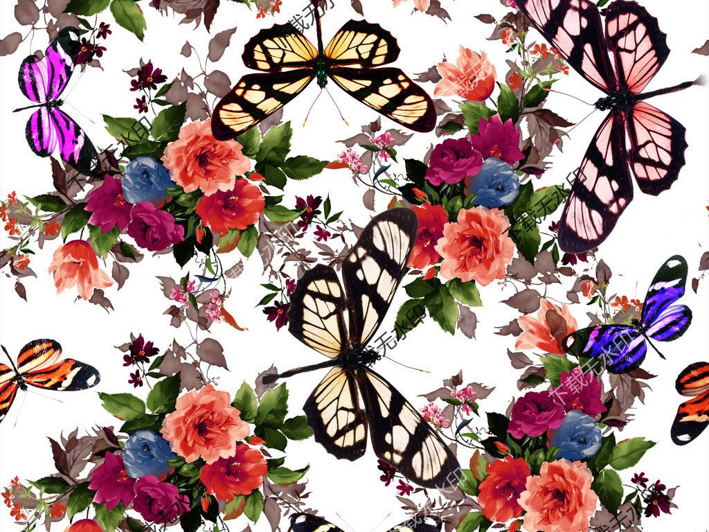 手绘花卉蝴蝶印花图案数码印花服装面料花型