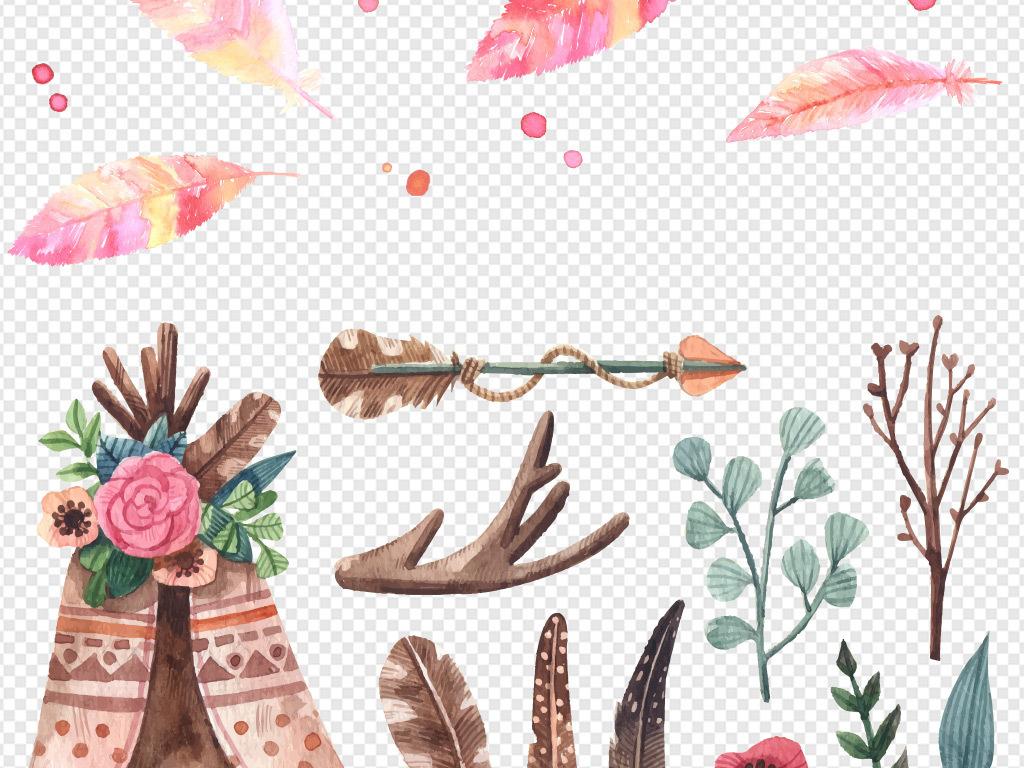 手绘水彩羽毛矢量素材
