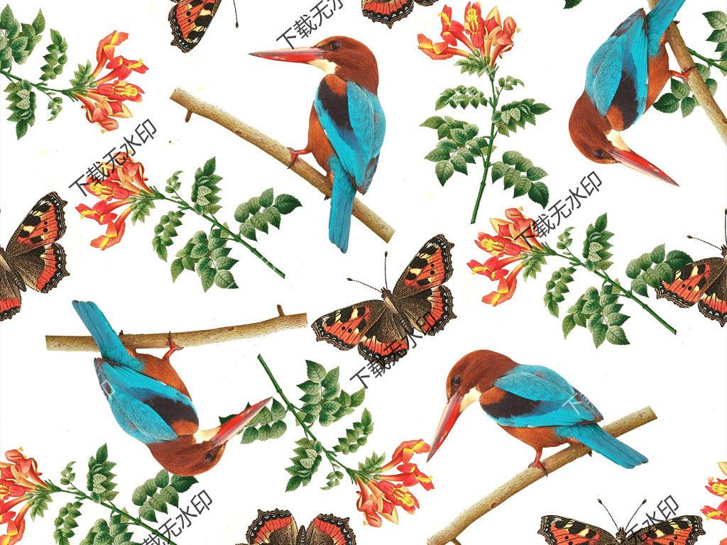 手绘花卉鹦鹉蝴蝶图案数码印花花型面料设计