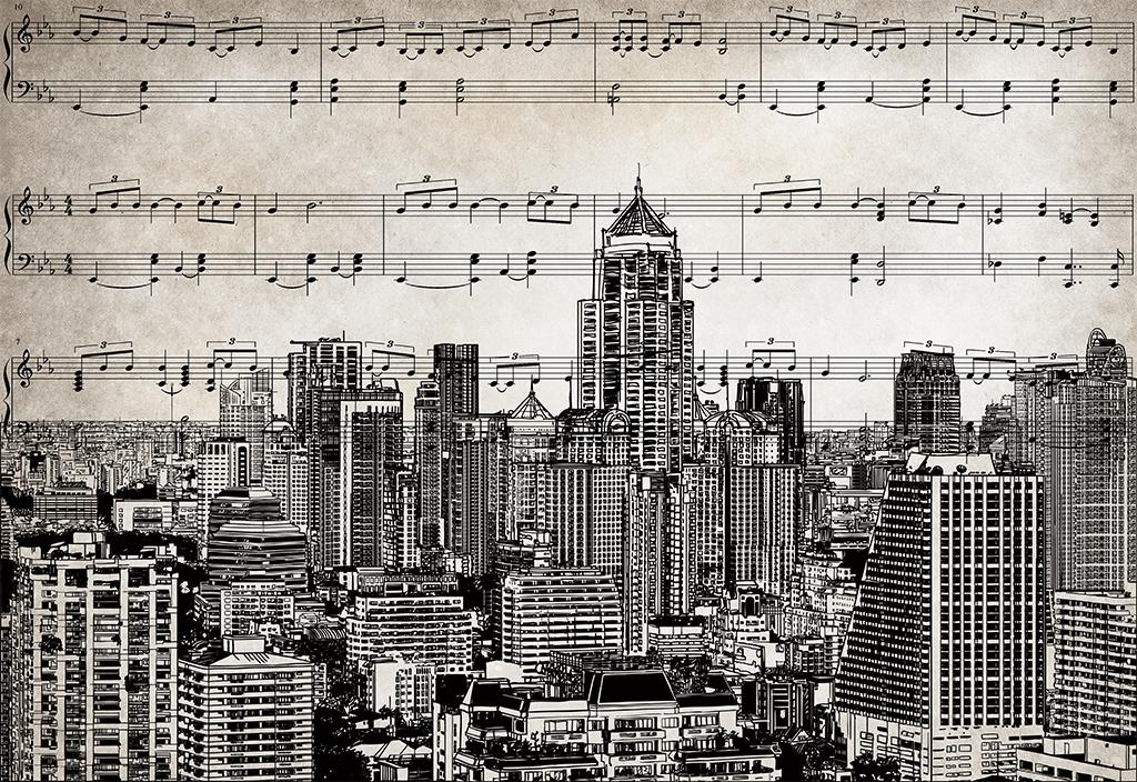 复古怀旧手绘五线谱城市背景墙