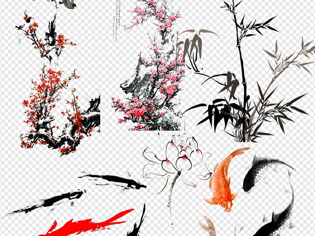 ps海报素材桃花荷花广告设计鲤鱼富贵新年素材免抠中国免抠素材水墨图片