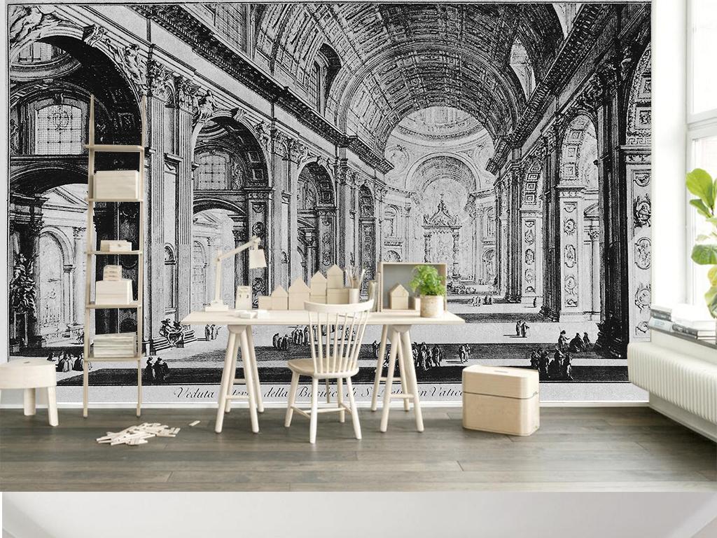 黑白建筑抽象黑白后现代手绘建筑背景墙壁画