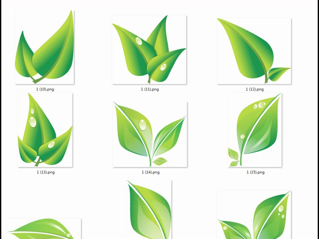 300dpi高清手绘扁平化绿叶,滴水叶子,叶子边框海报必备png免抠素材