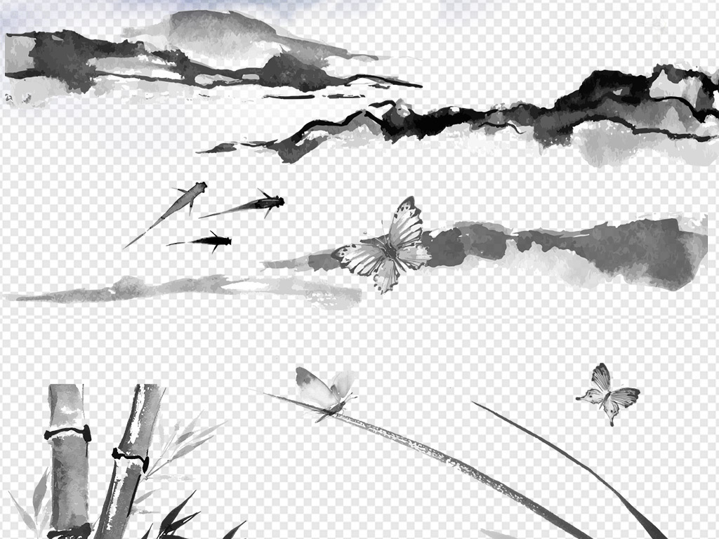 文化水墨山水画山脉梅花淡雅泛舟小船飞鸟远山手绘节日贺卡喜庆意境图片