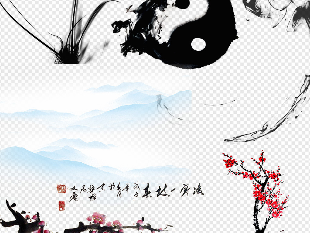 手绘节日贺卡喜庆意境桃花荷花海报展架鲤鱼富贵新年樱花新中式笔触中