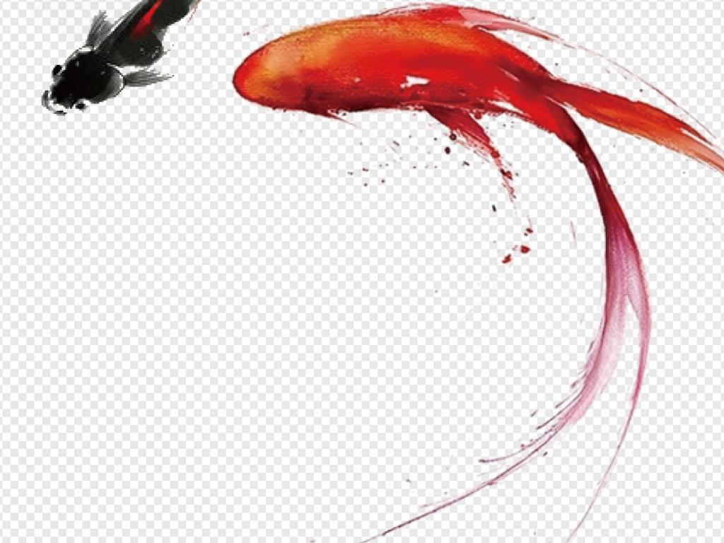手绘节日贺卡喜庆意境桃花荷花海报展架鲤鱼富贵新年樱花新中式笔触