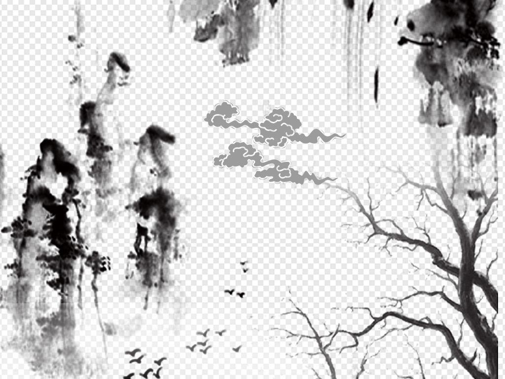 山水画山脉梅花淡雅泛舟小船飞鸟远山手绘节日贺卡喜庆意境桃花荷花图片