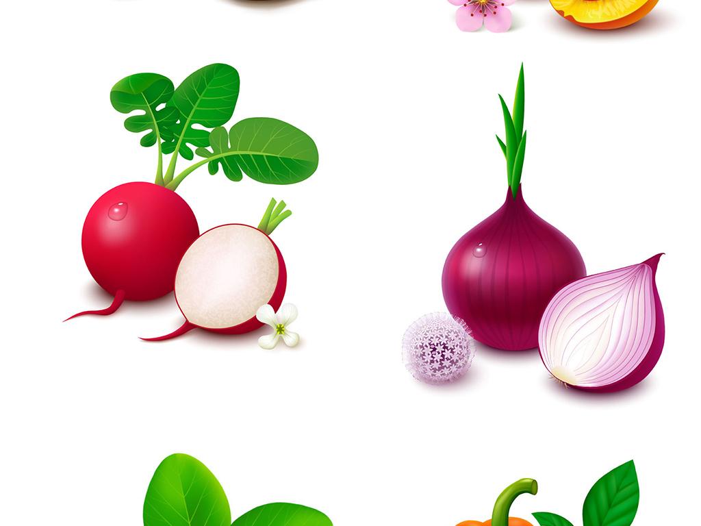 小清新手绘水果蔬菜装饰画设计元素