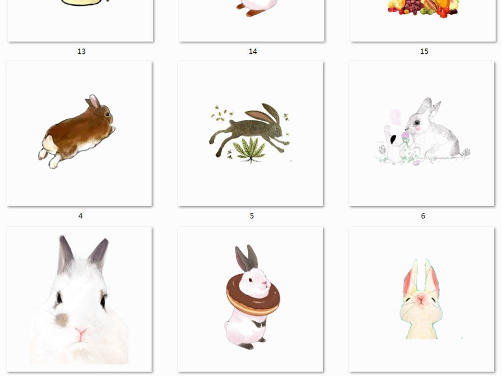 设计元素 自然素材 动物 > 手绘水彩兔子png免抠图素材  版权图片