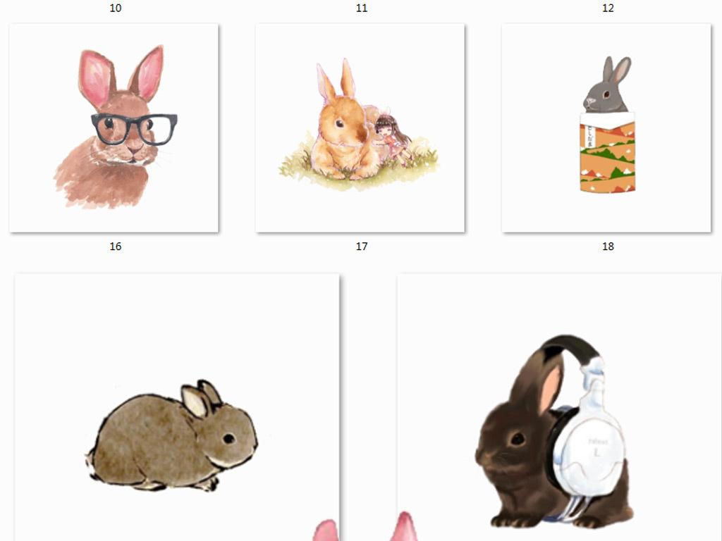 我图网提供精品流行手绘水彩兔子png免抠图素材下载,作品模板源文件可以编辑替换,设计作品简介: 手绘水彩兔子png免抠图素材 位图, RGB格式高清大图,使用软件为 Photoshop CS6(.png) 兔子图案 中秋兔子
