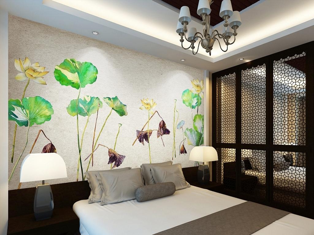 新中式中国风手绘荷花莲花背景墙壁画