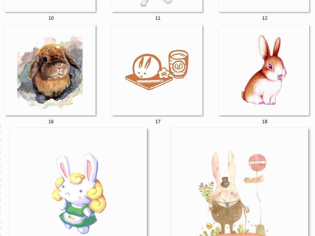 插画手绘森林素材免抠素材兔子素材图素材森林素材森林兔森森马森系