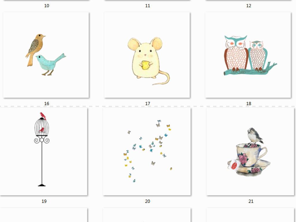 水彩手绘卡通动物水彩动物素材手绘动物卡通素材手绘卡通水彩动物手绘