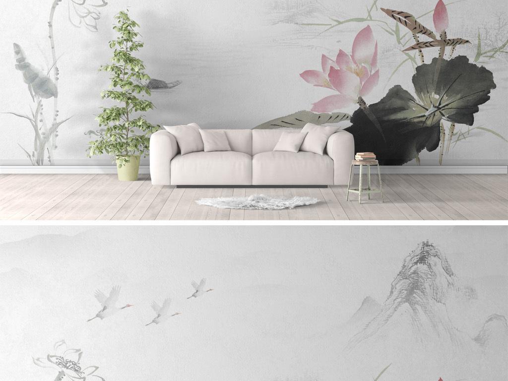 新中式荷叶荷花水墨手绘沙发背景图片设计素材 高清模板下载 169.00图片