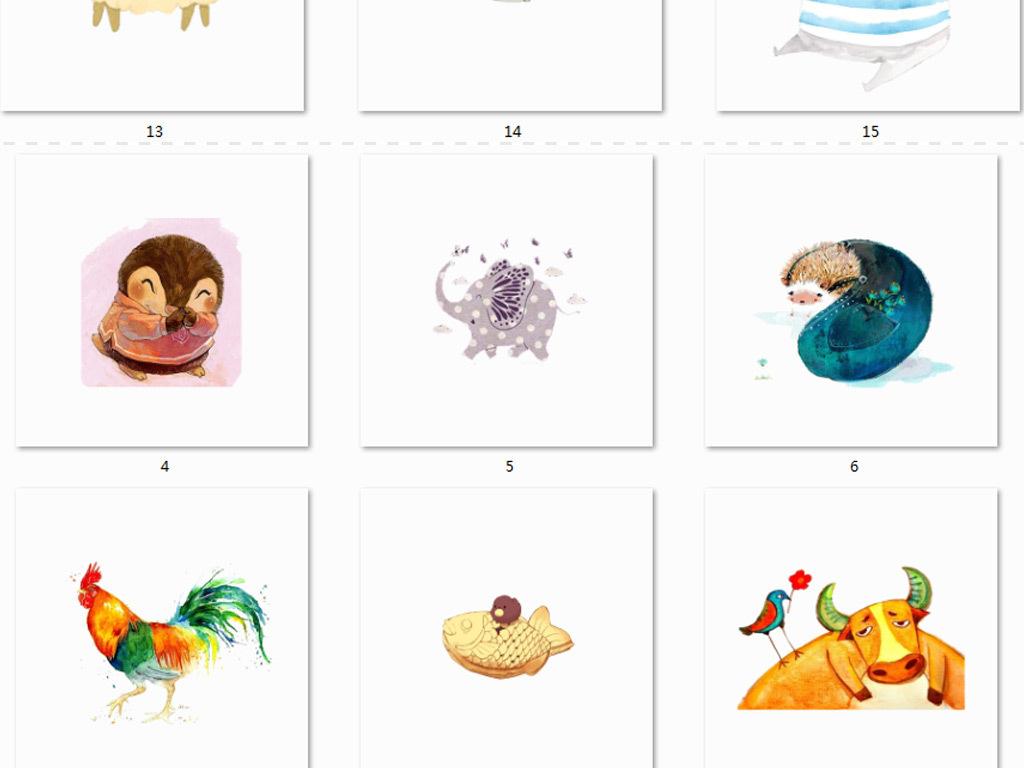 水彩森林系动物png免抠图素材