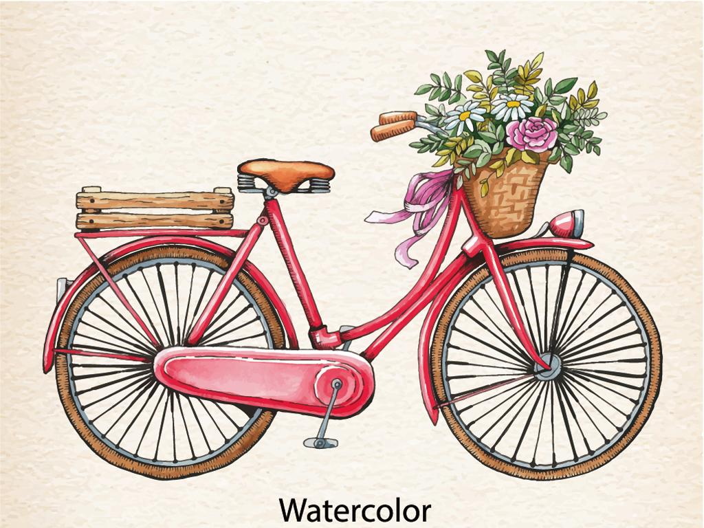 矢量手绘卡通自行车花朵插画