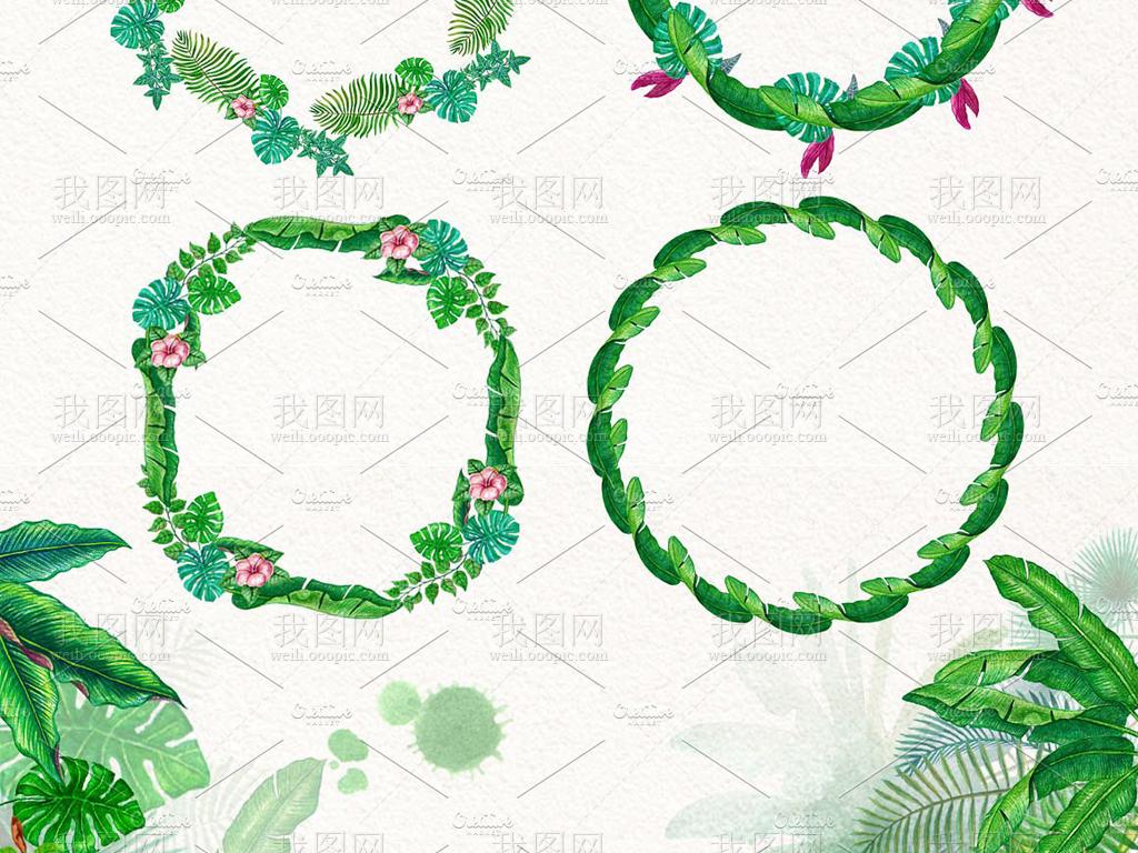 水彩画丛林中的热带叶子绿叶边框等海报必备设计素材png