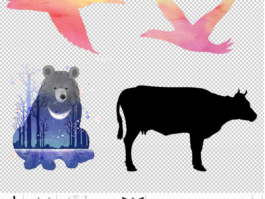 彩色三角形动物剪影png素材