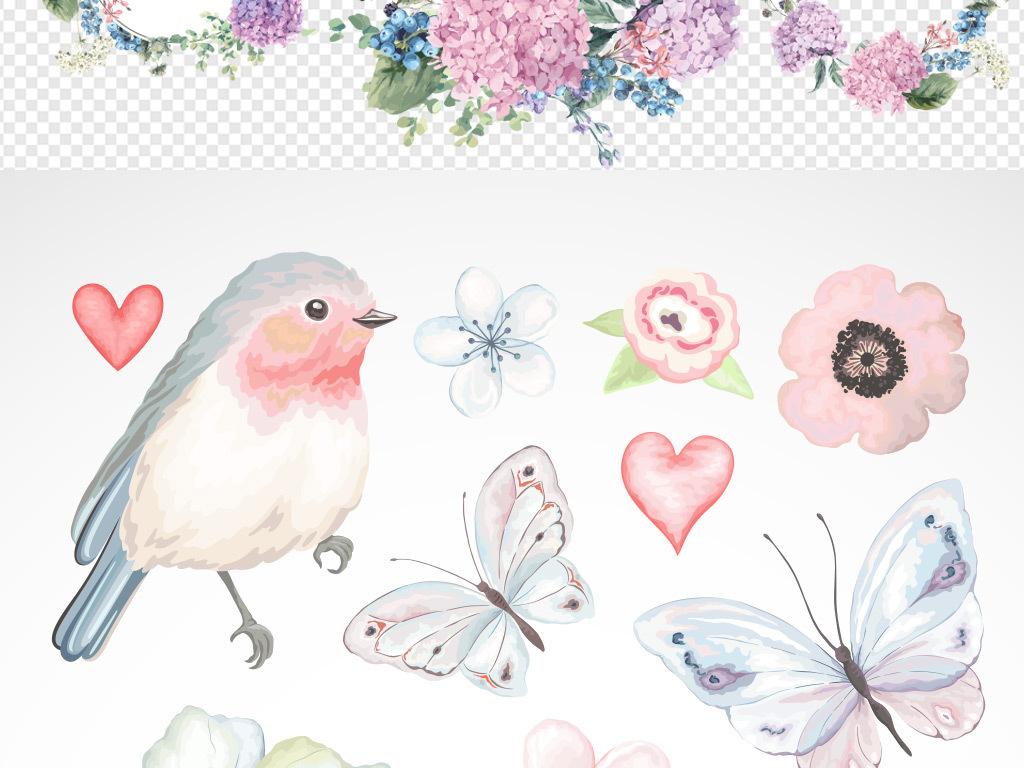手绘水彩花纹矢量图