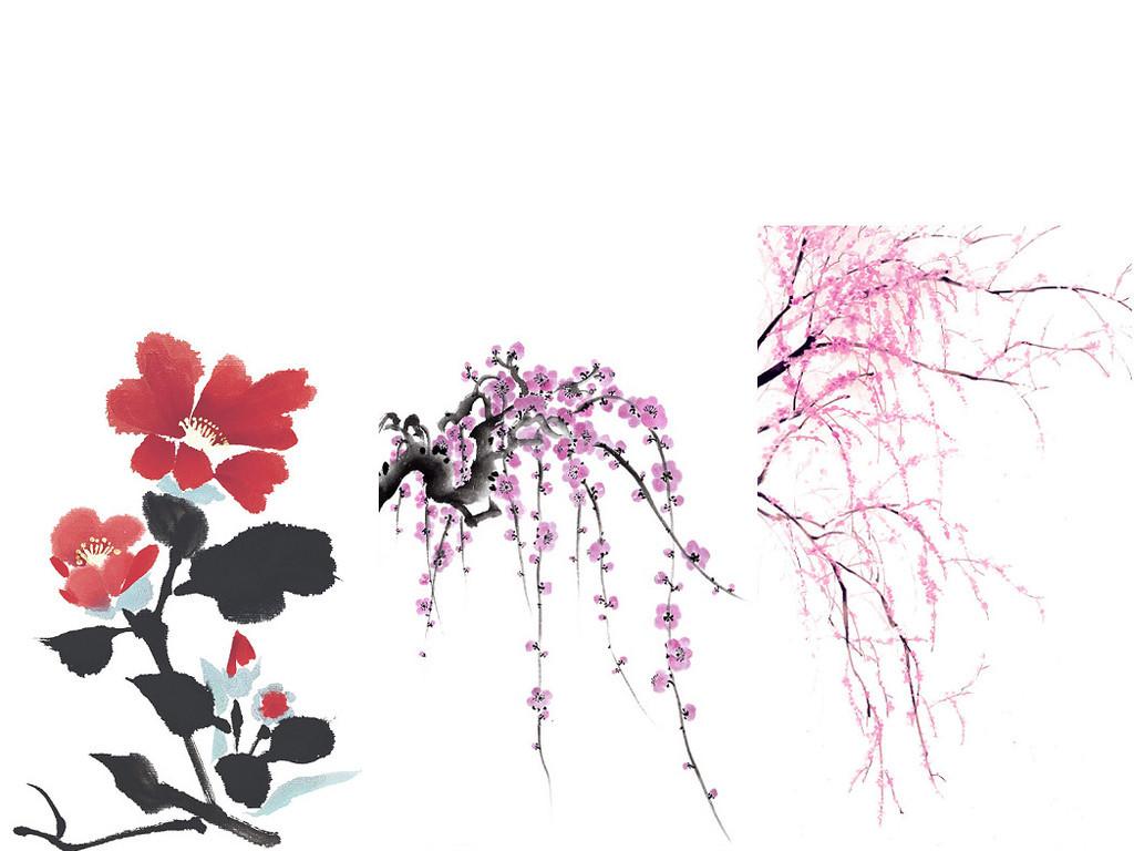 观花植物水墨桃花免抠png图片