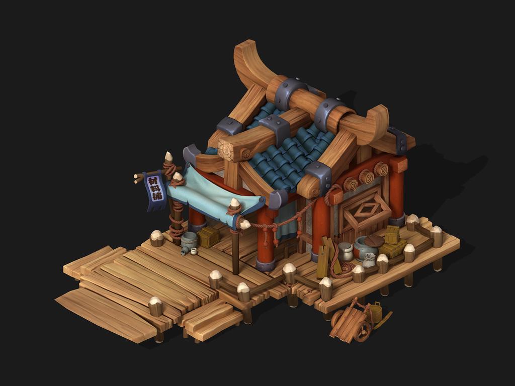 3d游戏q版材料铺古代小木屋建筑模型
