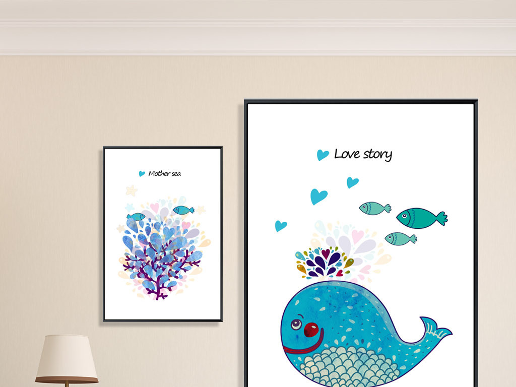 北欧简约手绘鲸鱼装饰画爱情鱼无框画三联