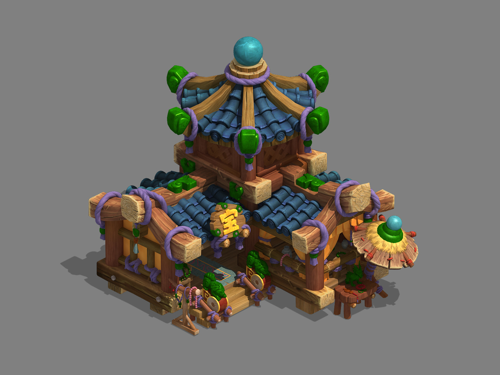 3d游戏q版古代小木屋珠宝店建筑模型
