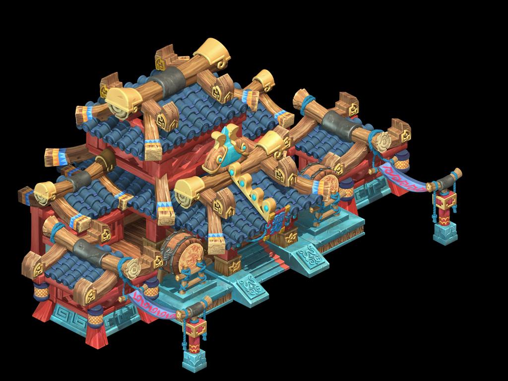 中国古代q版卡通小木屋主楼建筑模型