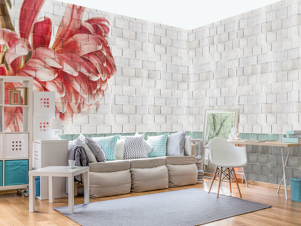 新中式水泥砖墙红色花朵装饰背景墙(2张)