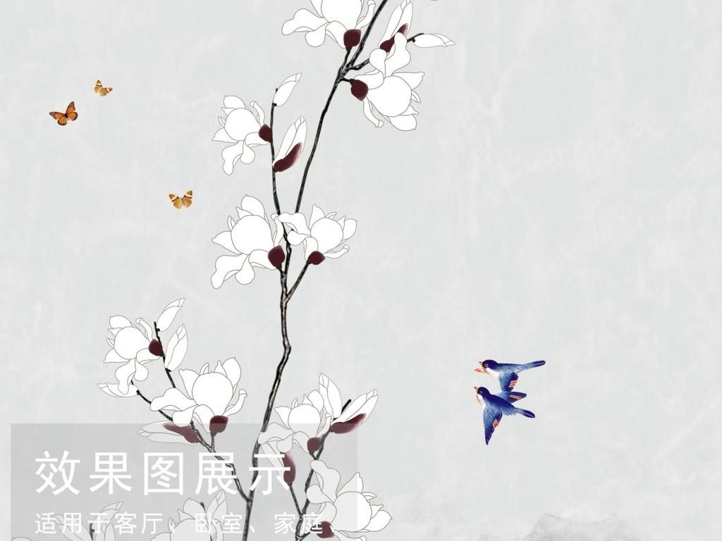 手绘玉兰花新中式花鸟工笔山水分层玄关装饰画