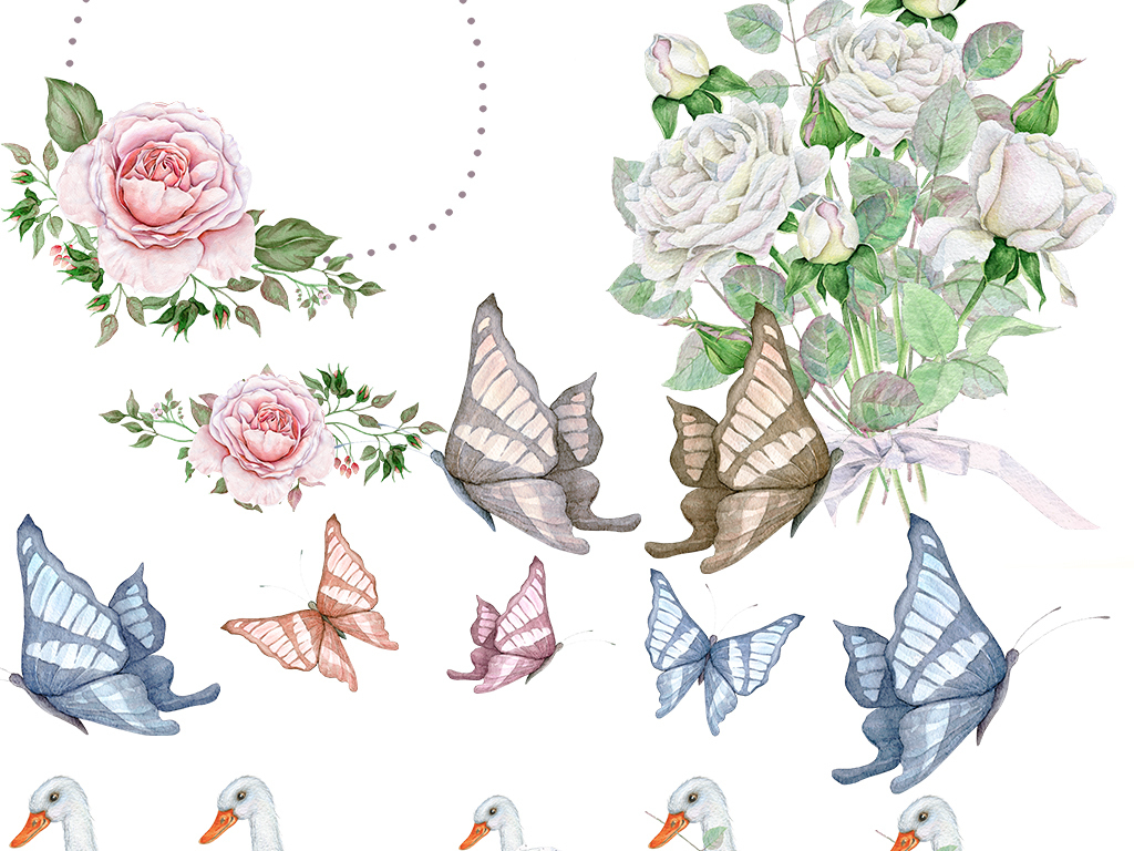 手绘动物玫瑰花水彩叶子花环水彩叶子设计素材波斯小动物野生动物动物