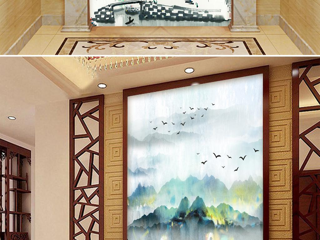 新中式禅意水墨山水玄关背景墙壁画图片