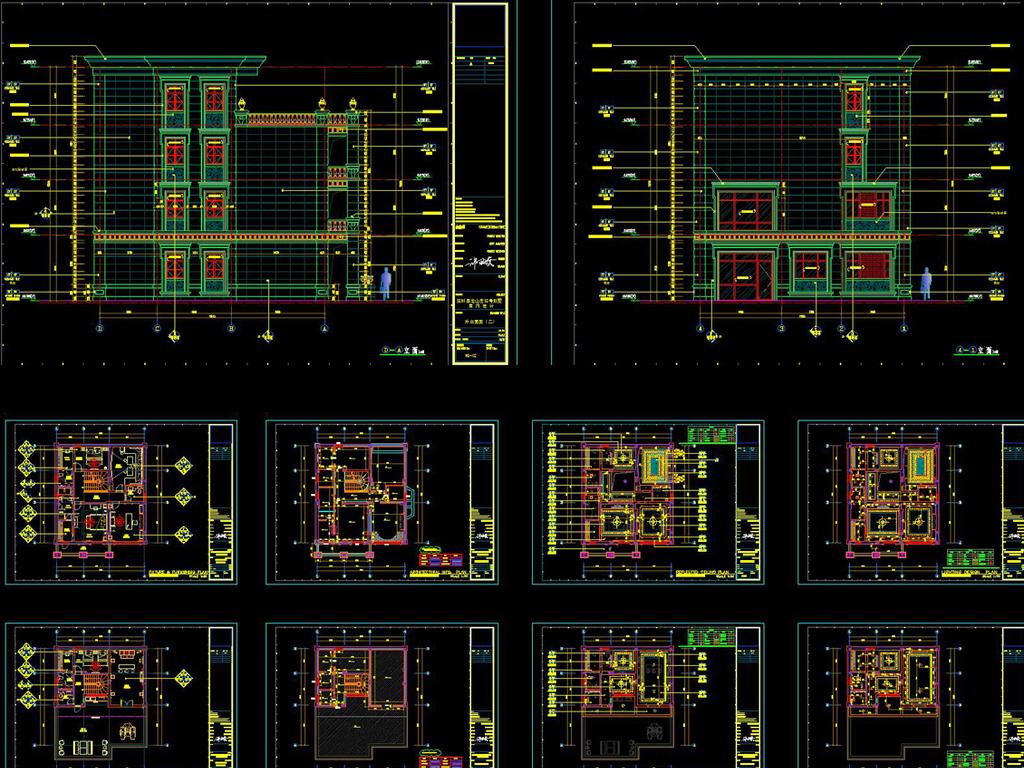 全套高端别墅CAD施工图
