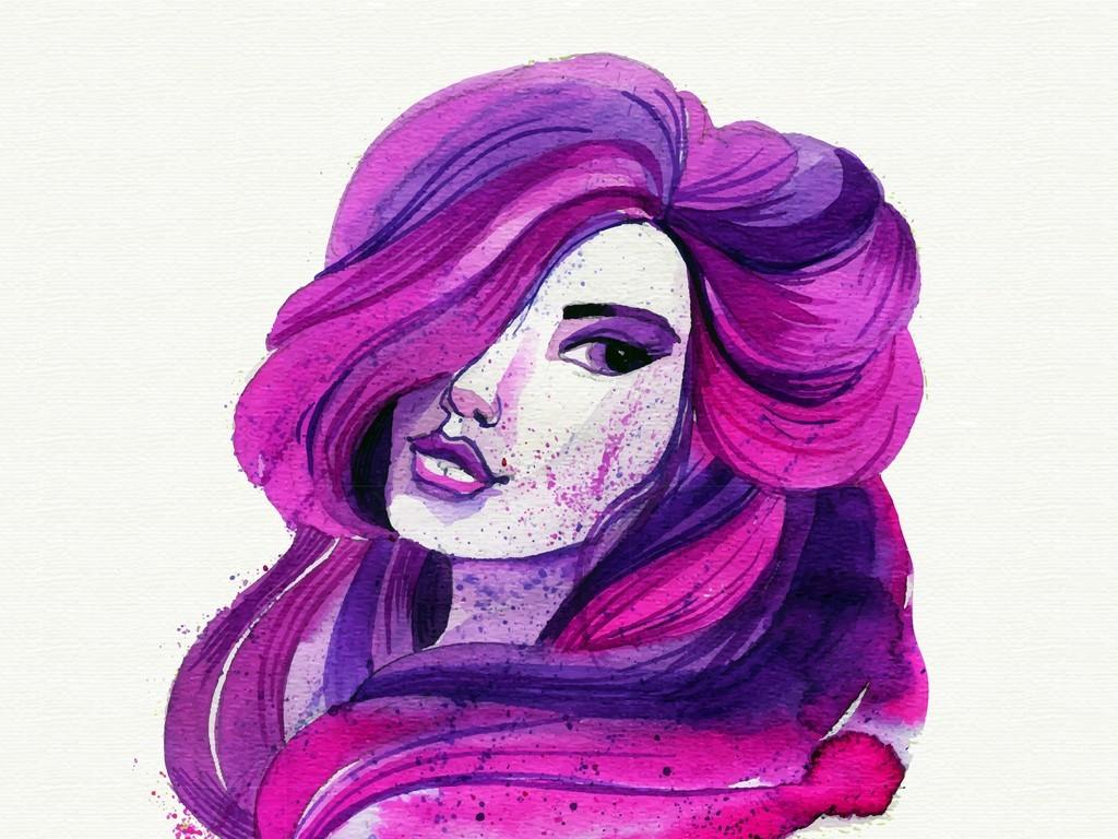 手绘喷溅艺术效果矢量美女头像