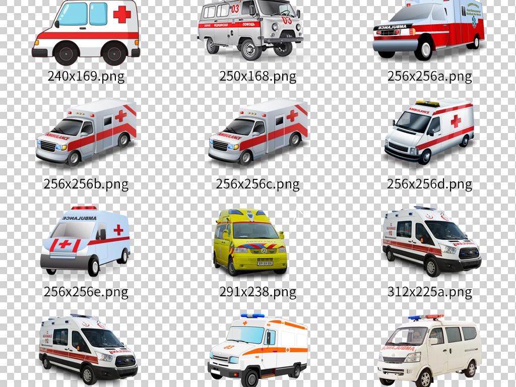 多款png格式医院救护车设计素材