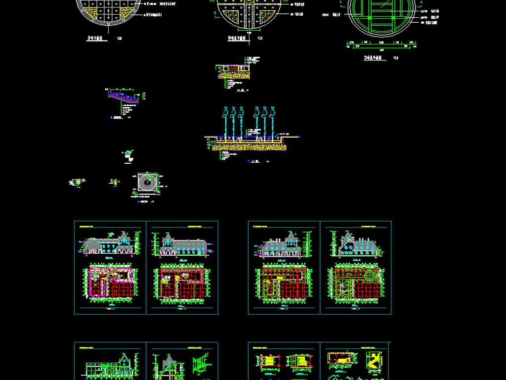 公园景观 公园饭店cad设计图平面图下载(图片88.22mb)