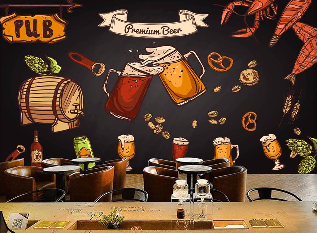 欧美手绘黑板啤酒小龙虾酒吧咖啡店背景墙
