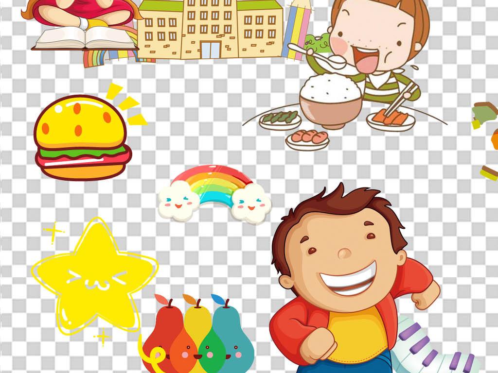 女学生开学季校园幼儿园卡通人物