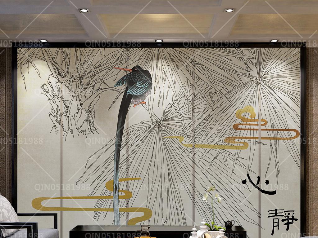 新中式线描树工笔花鸟背景墙装饰画