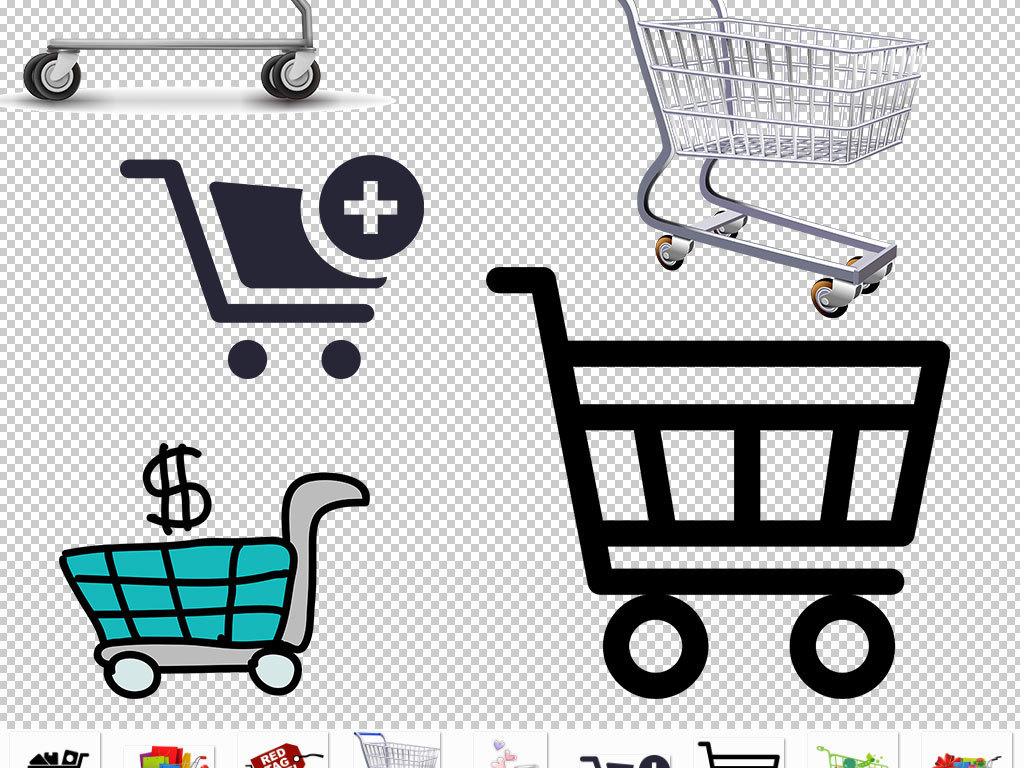 png)手绘购物车超市购物车矢量图卡通购物车图标