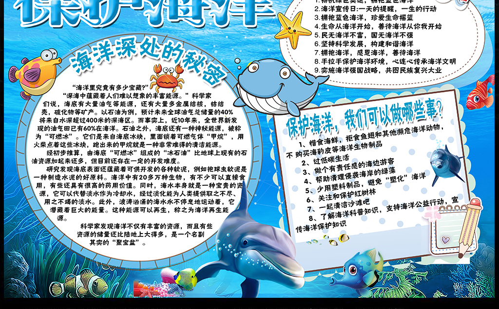 保护海洋小报环保知识科普手抄报电子小报